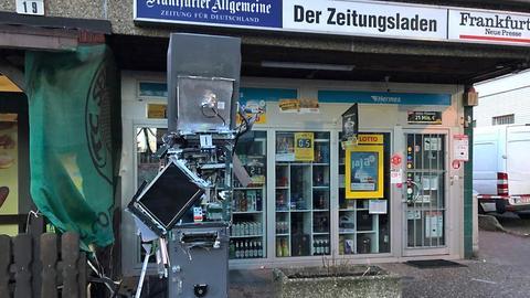 Zerstörter Geldautomat in Eschborn