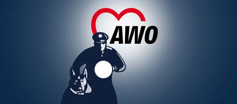 Die Grafik zeigt einen Wachmann mit Hund vor einem Hintergund, auf welchem das Logo der Arbeiterwohlfahrt beleuchtet ist.