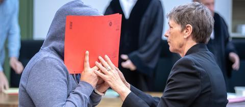 Die Angeklagte vor Gericht in München.