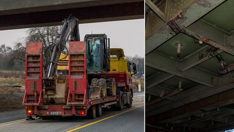 Bildkombo Bagger an der Brücke und Schäden in Nahaufnahme