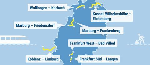 Die Karte zeigt Hessen und die zu erwartenden Baustellen im Sommer 2020.
