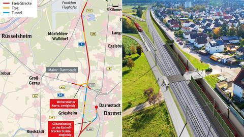 Kombination aus einer Karte mit dem Streckenverlauf und einer grafischen Visualisierung des Geplanten.