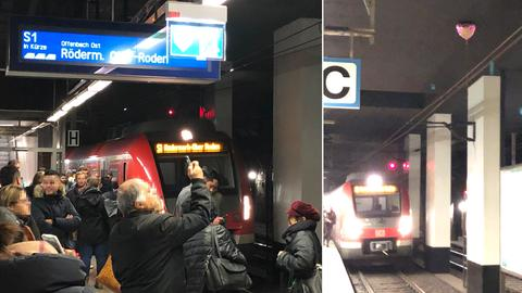 An der Station Konstablerwache ist ein metallbeschichteter Luftballon in die Oberleitung geraten.