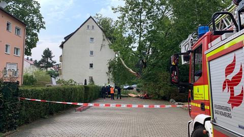Ein Baum ist in Bad Homburg auf ein Haus gestürzt.