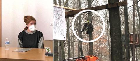 Angeklagte im Gerichtssal plus Foto im Wald