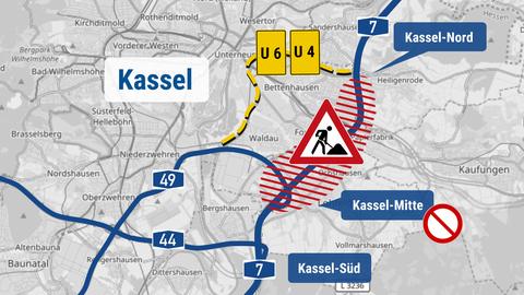 Die Karte zeigt die Verortung der Baustelle in Kassel.