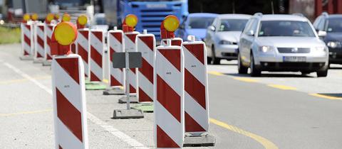 Baustellen-Bereich auf Autobahn