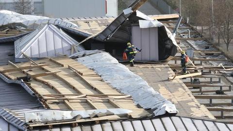 In Bensheim deckte der Sturm das Flachdach der Karl-Kübel-Schule ab.