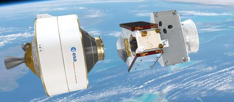 Eine grafische Darstellung zur Separierung der oberen Stufe rund 30 Minuten nach dem Start der Sonde BepiColombo.
