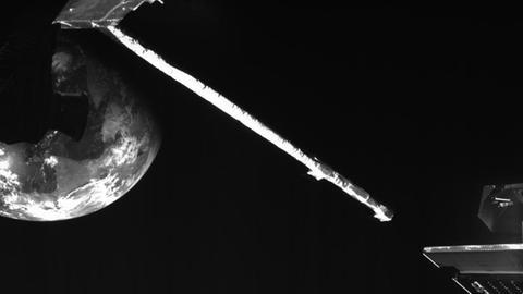 Schnappschuss im All: ein Blick auf die Erde aus etwa 18.600 Kilometern Höhe.