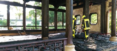 Abgebrannter Pavillon im Bethmannpark