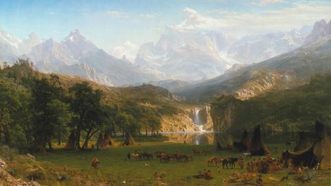 Gemälde des Malers Albert Bierstadt aus dem Jahr 1863 mit Darstellung der Rocky Mountains.