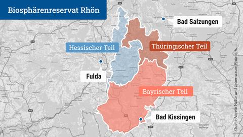 Die Karte zeigt die Verortung des Biosphärenreservat Rhön mit seinem hessischen, thüringischen und bayrischen Teil.