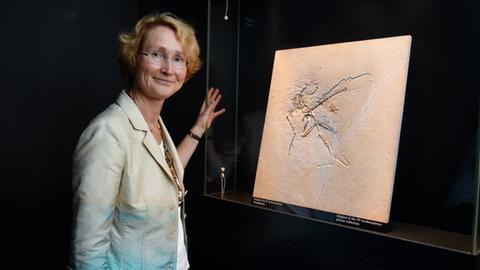 Katrin Böhning-Gaese vor dem Fossil eines Dinosauriers