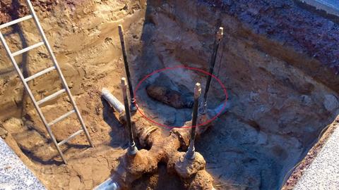 Bei Bauarbeiten gefundene Weltkriegsbombe in Babenhausen