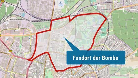 Die Karte zeigt den Evakuierungsbereich in der Darmstädter Innenstadt.