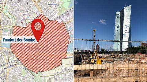 Die Bildkombination zeigt eine Karte mit dem Evakuierungsgebiet und die Fundstelle der Bombe.