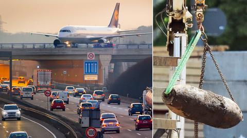 Beim Tunnelbau zum Flughafen Frankfurt wurde eine Fliegerbombe gefunden.