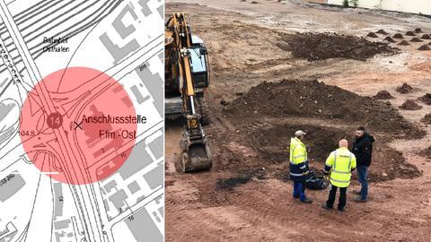 Karte vom Bombenfundort, Foto mit Experten auf der Baustelle.