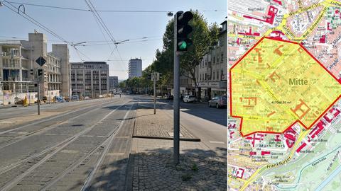 Gesperrte Kasseler Innenstadt: Auf der Baustelle (links) wurde die Bombe gefunden.