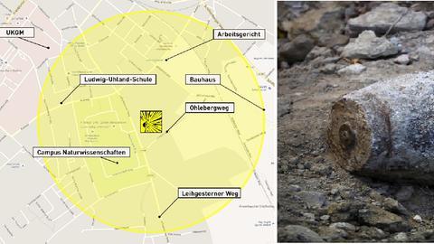 Eine Bildkombination mit einer Lagegrafik der Bombe und einem Bomben-Symbolbild