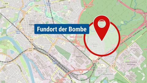 Die Karte zeigt den Fundort der Bombe in Hanau.