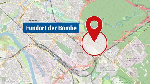 Karte mit dem Fundort der Bombe und einem Radius vpon ca. 500m.