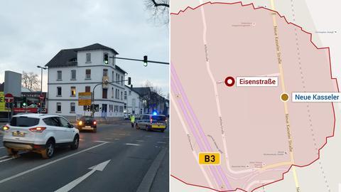 Polizei riegelt Straßen ab, Evakuierungszone in Marburg nach dem Fund einer Fliegerbombe