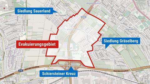 Die Karte zeigt den Bereich, der am Sonntag, den 18.4.2021, evakuiert werden soll. Gelegen nahe dem Schiersteiner Autobahn-Kreuz und zwischen den Siedlungen Gräselberg und Sauerland.