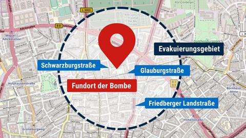 Karte, die den Fundort der Bombe zeigt.
