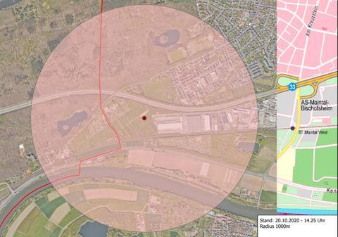 Karte des zu evakuierenden Bereichs