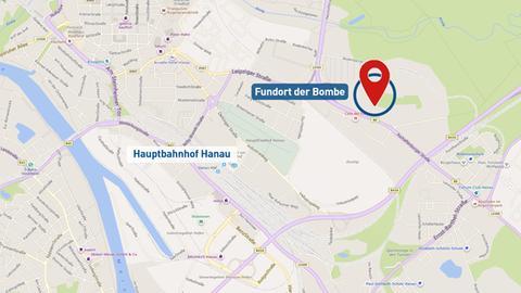Grafik Fundort Bombe Hanau