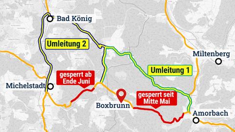 Sperrungen und Umleitungen rund um Boxbrunn