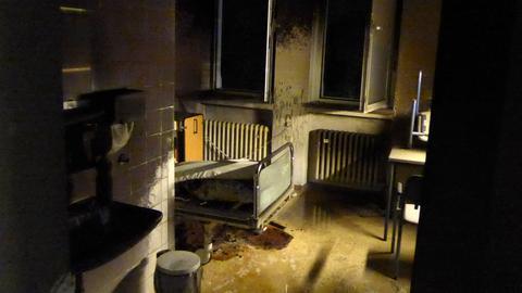 Zimmer einer Psychiatrie nach Brand