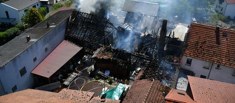 Aufnahme der abgebrannten Scheune von oben