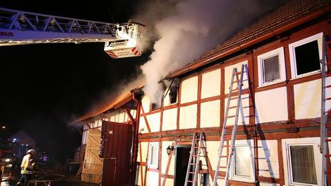 Brand eines Fachwerkhauses im osthessischen Burghaun.
