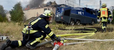 Großbrand im ehemaligen Fliegerhorst in Erlensee