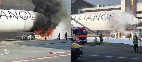 Brennender Flugzeugschlepper am Frankfurter Flughafen