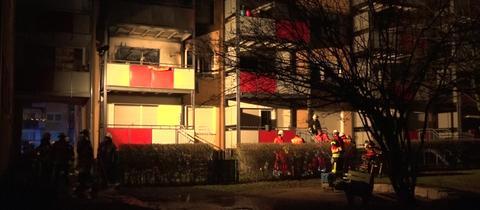 Fenster der ausgebrannten Wohnung