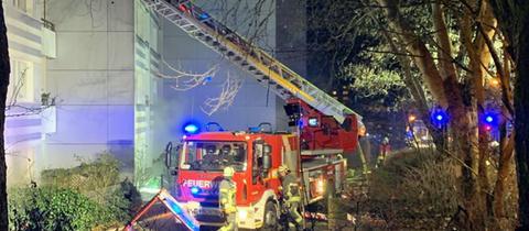 Die Feuerwehr im Einsatz in Schwalbach.