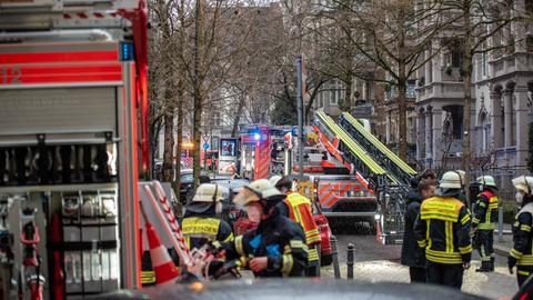 Brandort in der Wiesbadener Innenstadt