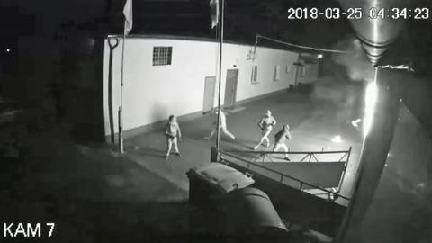 Bild aus dem Überwachungsvideo während des Anschlags