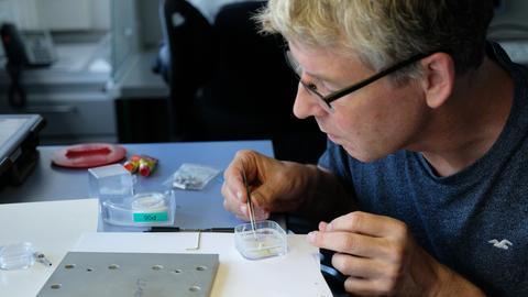 Prof. Frank Brenker von der Uni Frankfurt untersucht Staub aus dem All.