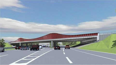 Autobahnbrücke in rotem Anstrich