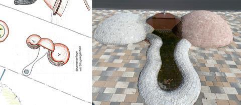 Entwurfskizze und Brunnen.