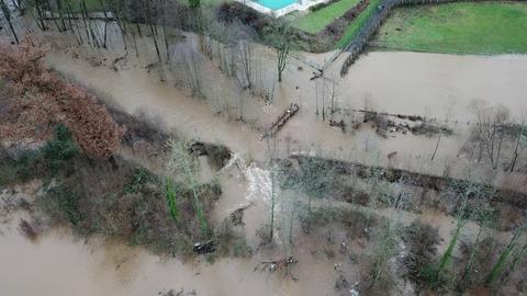 Das Hochwasser in Büdingen von oben