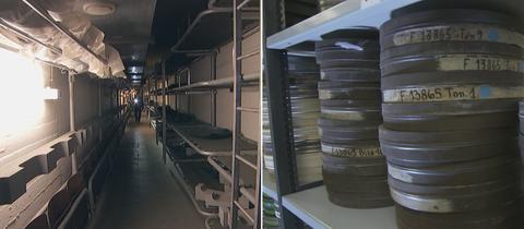 Collage: Links der Blick in einen Gang des alten Bunkers in Kassel, Rechts Filmrollen in einem Regal