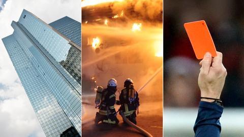 Collage Wasser, Feuerwehr, rote Karte