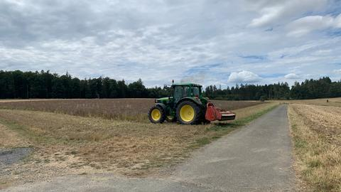 Ein Traktor mäht eine Wiese ab.