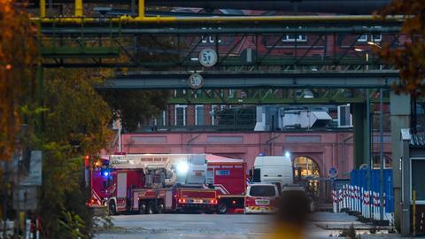 Feuerwehrfahrzeuge im Industriepark Frankfurt-Griesheim